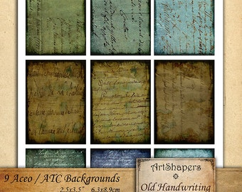 OLD HANDWRITING 2 - Aceo backgrounds, jewelry holders,instant download paper,digital collage sheet DCS90