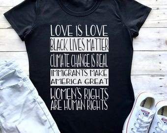 Love is Love, Black Lives Matter, Climate Change Is Real Shirt Tee T-Shirt feminist protest equality Women's Rights FITTED tee BLMGR