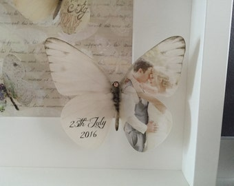 Wedding Keepsake framed picture with hand cut luxury vellum butterflies personalised with your images. Finished with Swarovski Crystals.