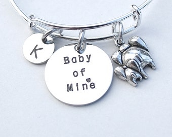 Baby of Mine Bracelet, Personalize, INITIAL, Dumbo, Elephant, Disney Inspired, Disney Jewelry, Gift For Her, Baby Mine,BabyShower