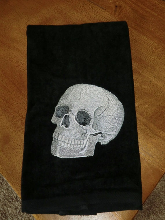 Embroidered Baroque Skull Towels Embroidered Velour Hand Towel Halloween