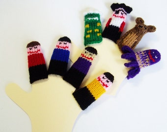 Wiggly Friends Finger Puppet Set (Includes 4 Friends, Dinosaur, Pirate, Dog, and Octopus)