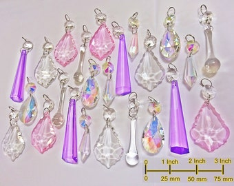 Iridescent AB & Pastel Chandelier Drops Glass Crystals Droplets Beads Christmas Tree Vintage Wedding Decoration Feng Shui Crafts Light Parts