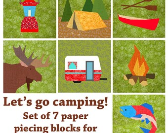 Let's go camping quilt block, paper pieced quilt pattern, PDF pattern, instant download, Set of 7 Paper pieced block patterns, bubblestitch