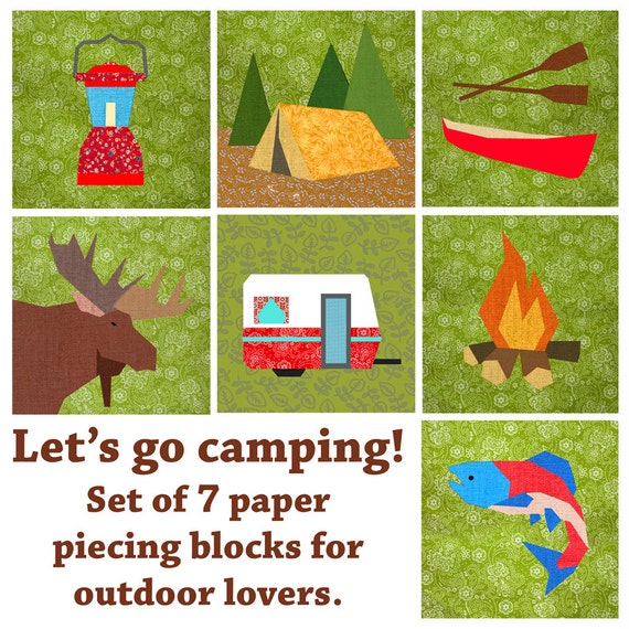Let S Go Camping Quilt Block Paper Pieced Quilt Pattern