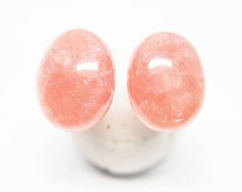 Rhodochrosite Gemstone, 7x9mm Domed Ovals, Sterling Silver Posts Studs Earrings, Bright Salmon Pink, Minimalist Earrings Jewelry, E16188