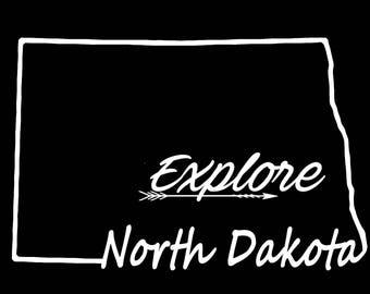 North Dakota Explore Vinyl Decal