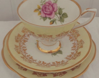 Stunning Vintage Clare Yellow and Gold Floral Bone China Tea Set Trio for One. Perfect for a Tea Party, afternoon tea
