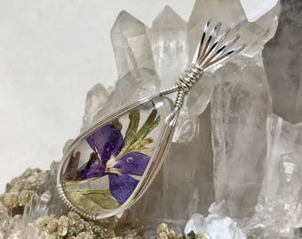 Blue Lobelia Pressed Flower in Resin Set in .925 Sterling Silver- Botanical One of a Kind Necklace