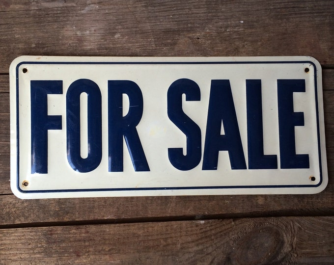 Vintage Metal For Sale Sign Cobalt Blue White Industrial Decor