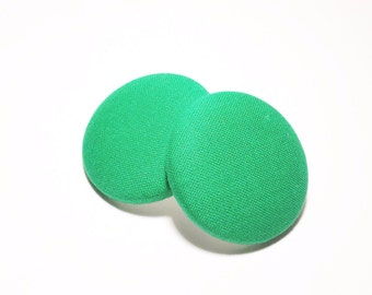 Oversized Solid Green Print Button Earrings