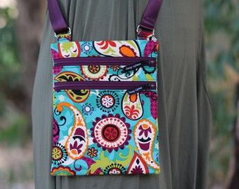 womens zipper purse - small crossbody bag - gift for her - gift for girlfriend - everyday bag - teal paisley fabric purse - cross body bag