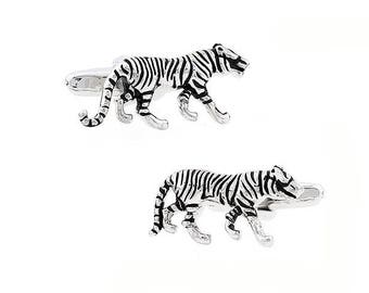 3-D Silver Tone Tiger Cufflinks Animal Cuff Links With Black Enamel Bullet  Cat Species Predators Back Comes in Gift Box