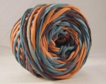 T-Shirt Yarn - Teal Terra Cotta - Black - 60 Yards - T Shirt Yarn - Tshirt Yarn - Coon Yarn - Fabric Yarn - Chunky Yarn - Upcycled Yarn