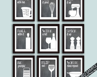 Funny Kitchen Art Print Set (Set of - 9 Art Prints) (Featured on Blackboard) Funny and Modern Kitchen quotes