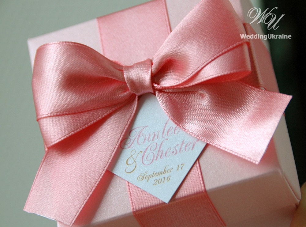 Wedding Gift Boxes: Light Pink Wedding Favor Gift Box With Blush Satin Ribbon Bow