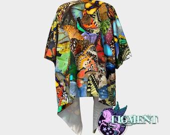 Butterfly Kimono - Knit or Chiffon - Butterfly Sweater, Boho Kimono, Butterfly Lover, Swimsuit Cover Up, Rainbow Kimono, Fringe Kimono, Gift