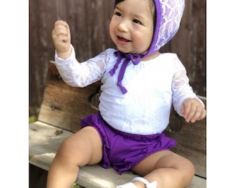 Purple baby bonnet with lace, baby bonnet, baby head cover, head cover, lace baby bonnet