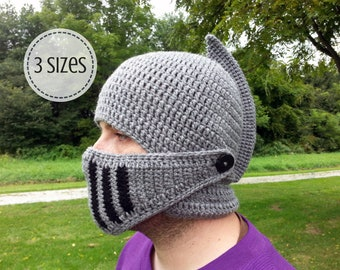 Crochet Knight Helmet Hat - Men's Knight Costume - Medieval Knight Costume - Adult Knight Hat - Visor Hat for Men