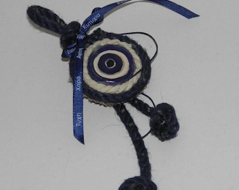 Rustique Ornament with Ceramic Evil Eye and Jute Cord - Good Luck Ornament - Greek Evil Eye- Handmade Evil Eye in 6 Colors