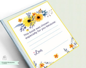Printable Bookplates -Baby Shower Bookplate-summer BookPlates-INSTANT DOWNLOAD-Bookplates-flowers Bookplates-Childrens Bookplate,Book-themed