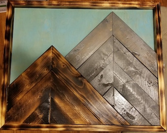 Wood mountain scape wall art