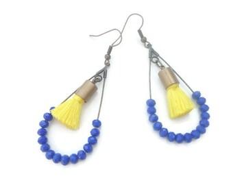 Yellow and dark blue tassel earrings