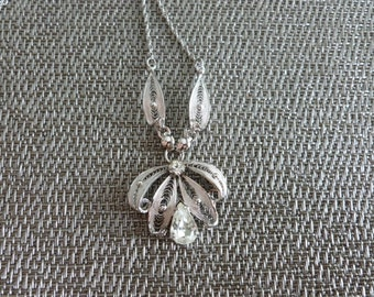 Sterling Silver Pendant, Crystal Pendant Necklace, Sterling Lace Necklace, Unique Sterling Necklace, Crystal Necklace, Unique Necklace