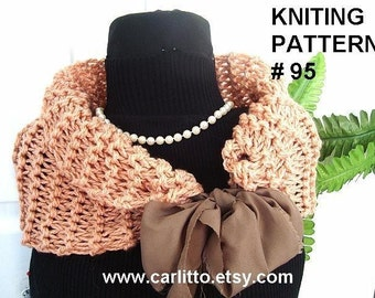 Knitting pattern, scarf, Num. 95, KNIT COWL, Knitting for beginners make it any size, instant download