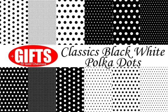 Classic Black and White Polka Dot Digital Paper scrapbook printable invitation Clip Art Party vector graphics White with Black polka dots