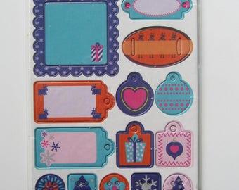 Scrapbooking embellishments stickers 15 decals cardboard
