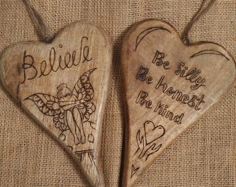 Heart, wooden plaque, quotes