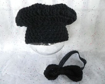 Black Newborn Chef Hat Set RTS SALE Only One Available