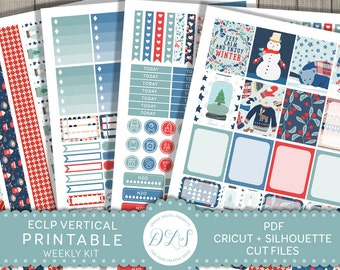 Winter Planner Kit, ECLP Vertical Stickers, Winter Stickers for Erin Condren, Weekly Planner Kit, Printable Stickers, Cut Files, VS122