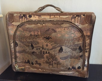 French Company Tapestry Suitcase with Suede - Countryside Pattern