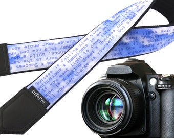 Camera strap - Positive thoughts. DSLR / SLR accessories. Canon Nikon camera strap. Durable, light and padded camera strap