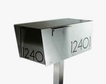 The Minimalist - Modern mailbox - mid-century - contemporaty - post mounted - locking option - post mount - W8821S