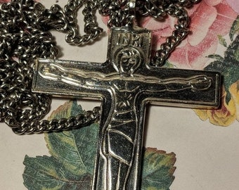 Big Sale Large Vintage Christ Is Counting On You Silver Long Religious Byzantine Style Cross Crucifix Pendant Necklace Steel Chain