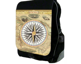 Ancient World Compass Large Black School Backpack
