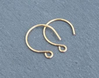 5 Pairs 24K Gold-Plated Round Earwires, Modern Round Hoop Ear Hooks, Artisan earwires, Handmade Earring findings for Jewellery Making