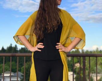 Textured Mustard Boho Cardigan | Boho Wrap | Bathing Suit Cover Up | Boho Fashion | Boho Kimono