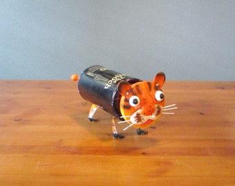 Cal Eanoch Tiger Bot, Assemblage Robot, Repurposed Cigar Box Tin #1216