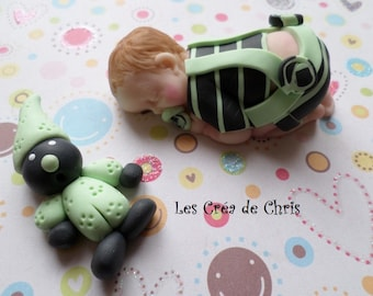 baby boy onesie and tee shirt striped polymer clay.