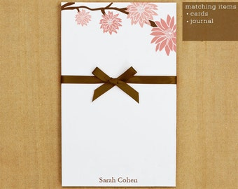 Personalized Stationary - Pink Flowers Notepad