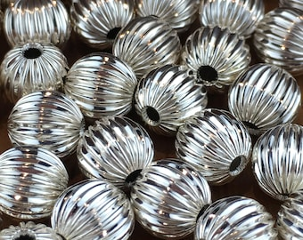 Sterling Silver Round Corrugated Beads