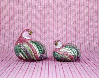A Pair: Colorful Ceramic Partridges
