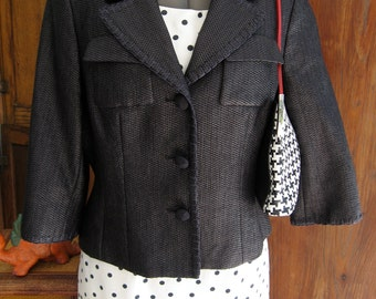 Women's Vintage Black Woven Crop Jacket With Whip Stitch Detail and 3/4 Length Sleeves, Size 14.