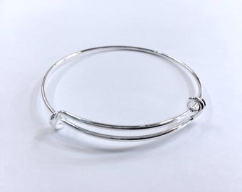 Bangle Bracelet closed adjustable 60mm silver jewelry designs