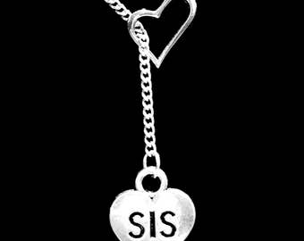 Sister Gift, Sister Necklace, Heart Sis, Sisters Necklace, Christmas Gift Y Lariat Necklace