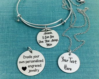 Personalized Jewelry, Engraved Charms, Sterling Silver Charms, Engraved Jewelry, Sterling Silver, Stainless Steel, Monogram, Engraving